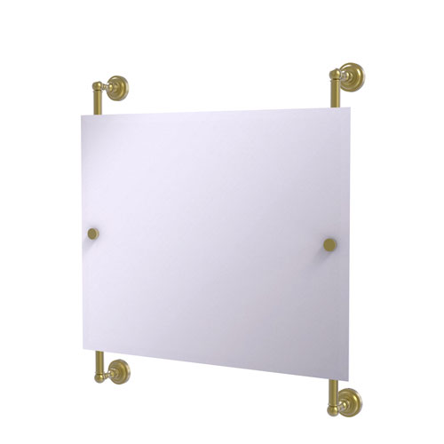 Dottingham Satin Brass 26-Inch Landscape Rectangular Frameless Rail Mounted Mirror