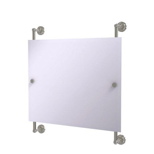 Dottingham Satin Nickel 26-Inch Landscape Rectangular Frameless Rail Mounted Mirror