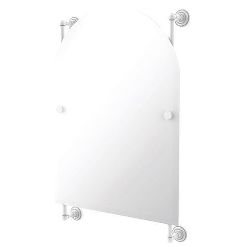 Dottingham Matte White 21-Inch Arched Top Frameless Rail Mounted Mirror