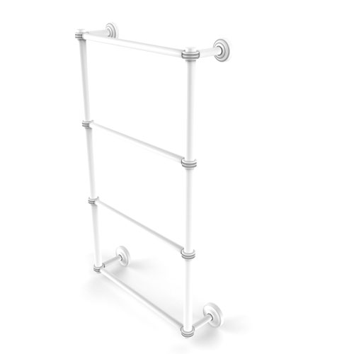 Dottingham Matte White 30-Inch Four Tier Ladder Towel Bar with Dotted Detail