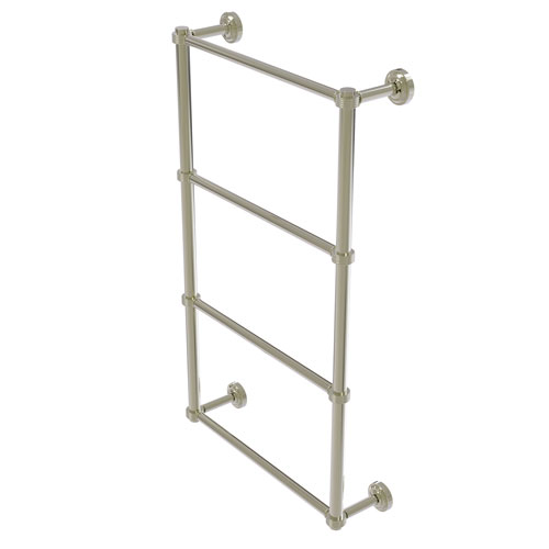 Dottingham Polished Nickel 30-Inch Four Tier Ladder Towel Bar with Groovy Detail