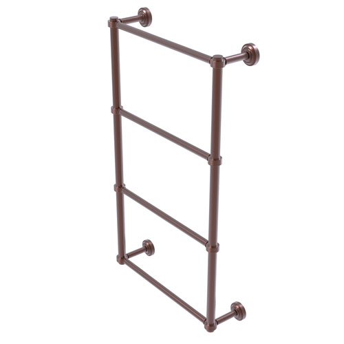 Dottingham Antique Copper 36-Inch Four Tier Ladder Towel Bar with Groovy Detail