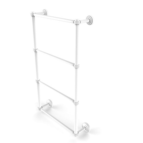 Dottingham Matte White 36-Inch Four Tier Ladder Towel Bar with Groovy Detail