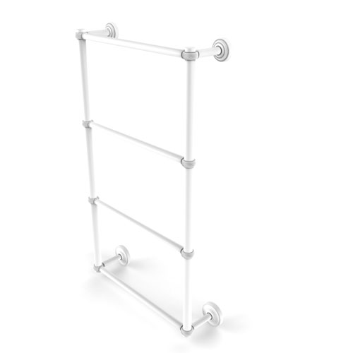 Dottingham Matte White 30-Inch Four-Tier Ladder Towel Bar with Twisted Detail