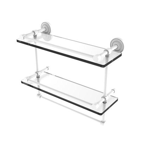 Dottingham Matte White 16-Inch Double Glass Shelf with Towel Bar