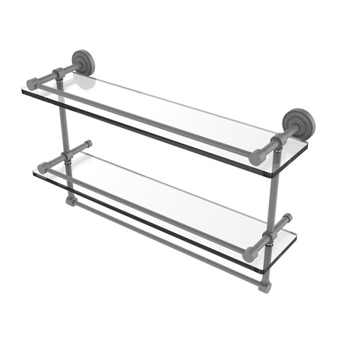 Dottingham Matte Gray 22-Inch Double Glass Shelf with Towel Bar