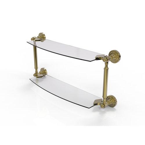 Dottingham Unlacquered Brass 24-Inch Two Tiered Glass Shelf