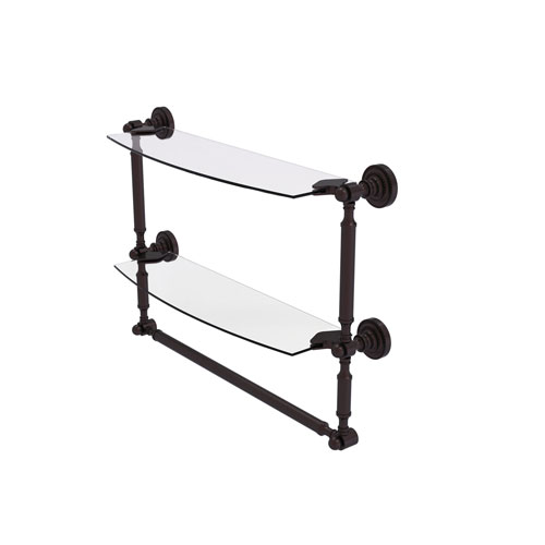 Dottingham Antique Bronze 18-Inch Two Tiered Glass Shelf with Integrated Towel Bar