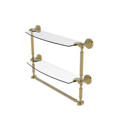 Dottingham Unlacquered Brass 18-Inch Two Tiered Glass Shelf with Integrated Towel Bar