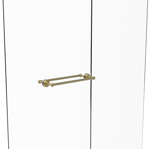 Dottingham Satin Brass 18-Inch Back to Back Shower Door Towel Bar