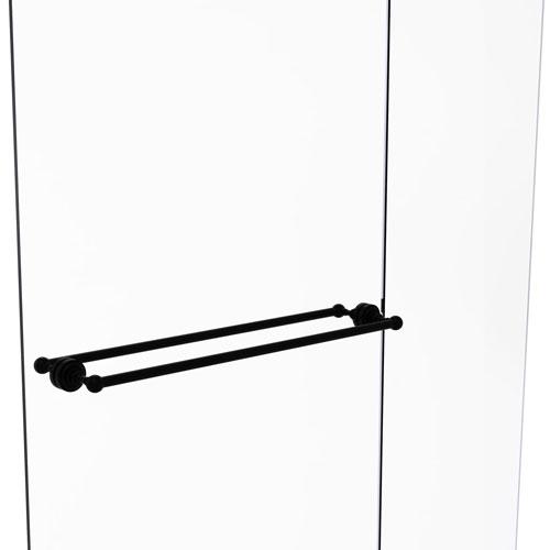 Dottingham Matte Black 30-Inch Back to Back Shower Door Towel Bar
