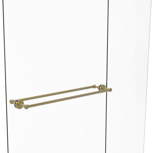 Dottingham Satin Brass 30-Inch Back to Back Shower Door Towel Bar