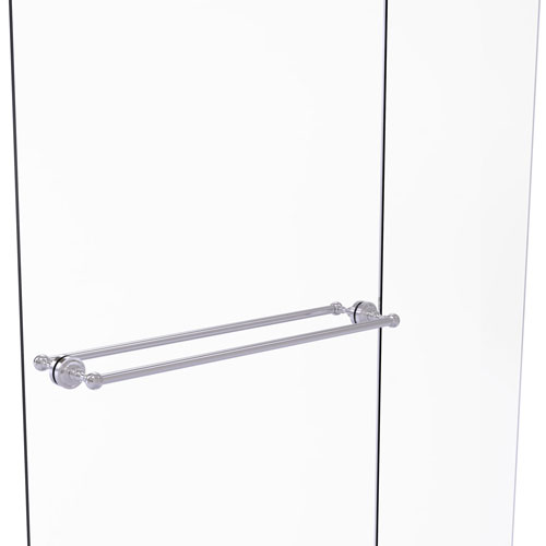 Dottingham Satin Chrome 30-Inch Back to Back Shower Door Towel Bar