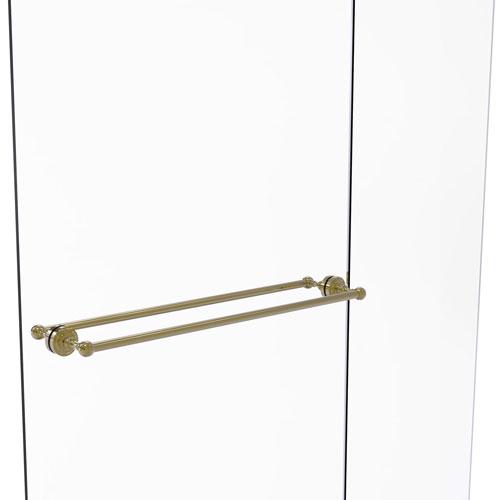 Dottingham Unlacquered Brass 30-Inch Back to Back Shower Door Towel Bar