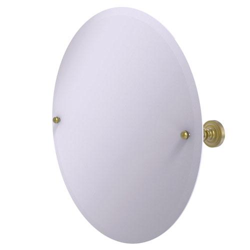 Dottingham Satin Brass 22-Inch Frameless Round Tilt Mirror with Beveled Edge
