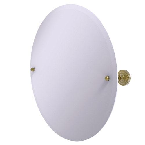Dottingham Unlacquered Brass 22-Inch Frameless Round Tilt Mirror with Beveled Edge