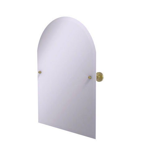Dottingham Satin Brass 21-Inch Frameless Arched Top Tilt Mirror with Beveled Edge