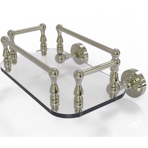 Dottingham Polished Nickel Eight-Inch Wall Mounted Glass Guest Towel Tray