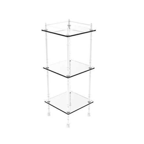 Matte White 14-Inch Three-Tier Etagere with Shelves