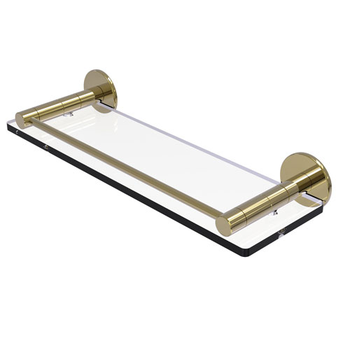 Fresno Unlacquered Brass 16-Inch Glass Shelf with Vanity Rail