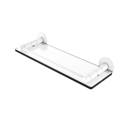 Fresno Matte White 16-Inch Glass Shelf with Vanity Rail