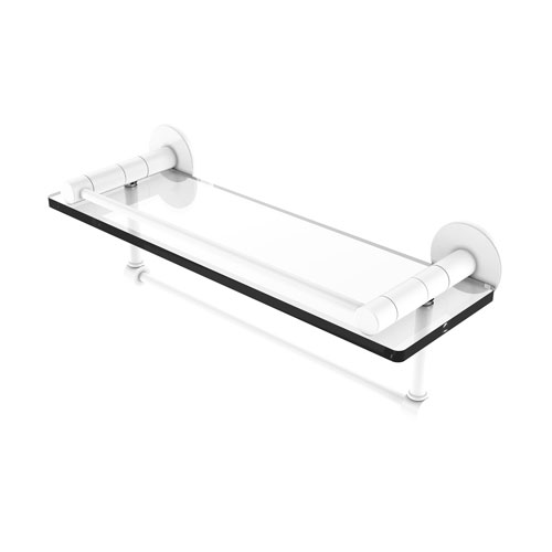 Fresno Matte White 16-Inch Glass Shelf with Vanity Rail and Integrated Towel Bar