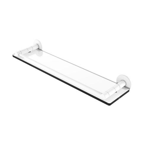 Fresno Matte White 22-Inch Glass Shelf with Vanity Rail