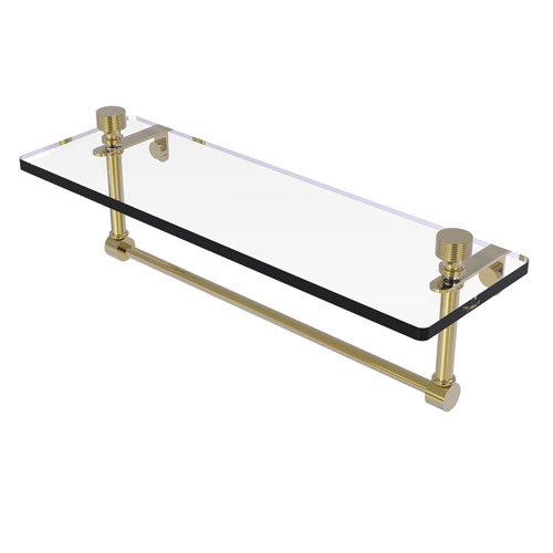 Foxtrot Unlacquered Brass 16-Inch Glass Vanity Shelf with Integrated Towel Bar