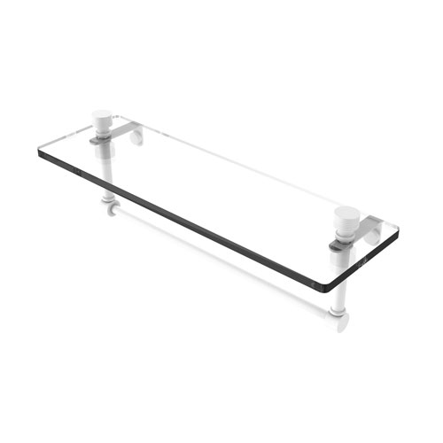 Foxtrot Matte White 16-Inch Glass Vanity Shelf with Integrated Towel Bar
