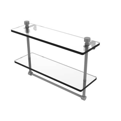 Foxtrot Matte Gray 16-Inch Two Tiered Glass Shelf with Integrated Towel Bar