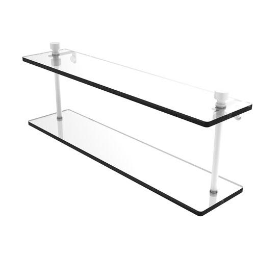 Foxtrot Matte White 22-Inch Two Tiered Glass Shelf