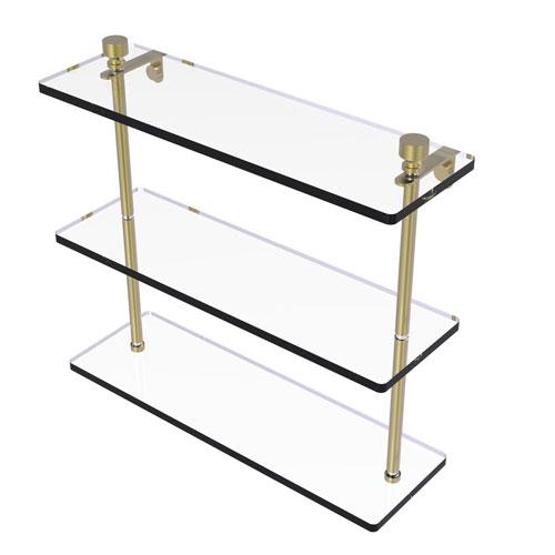 Foxtrot Satin Brass 16-Inch Triple Tiered Glass Shelf