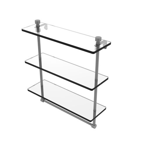 Foxtrot Matte Gray 16-Inch Triple Tiered Glass Shelf with Integrated Towel Bar