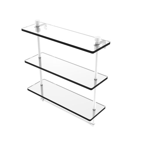 Foxtrot Matte White 16-Inch Triple Tiered Glass Shelf with Integrated Towel Bar