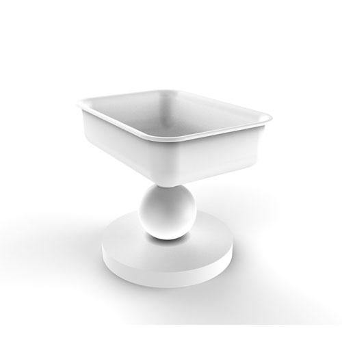 Matte White Four-Inch Vanity Top Soap Dish
