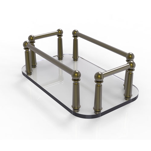 Antique Brass Six-Inch Vanity Top Glass Guest Towel Tray