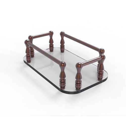 Antique Copper Six-Inch Vanity Top Glass Guest Towel Tray