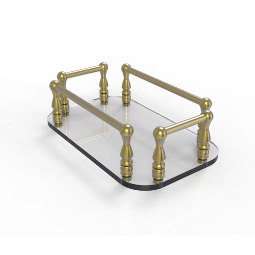 Satin Brass Six-Inch Vanity Top Glass Guest Towel Tray