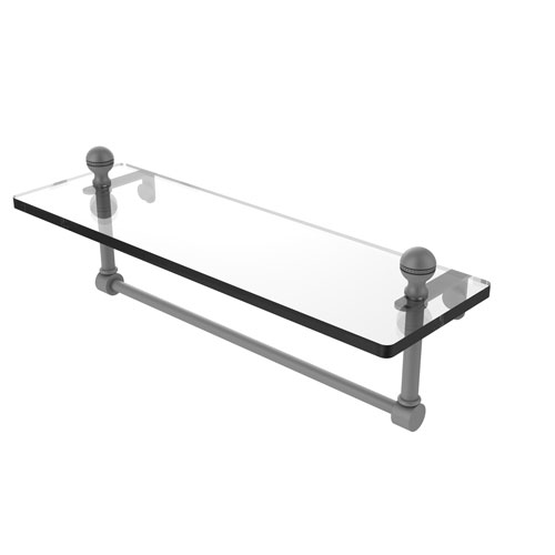 Mambo Matte Gray 16-Inch Glass Vanity Shelf with Integrated Towel Bar