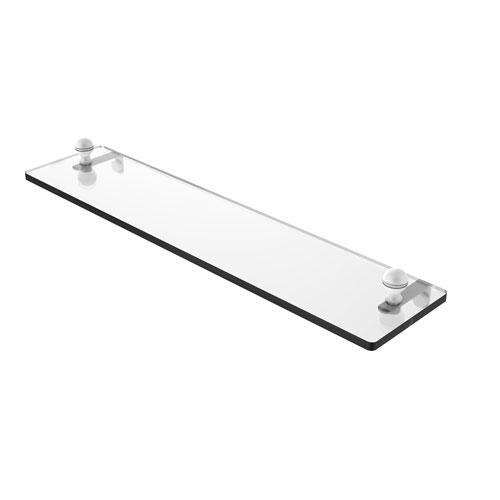 Mambo Matte White 22-Inch Glass Vanity Shelf with Beveled Edges