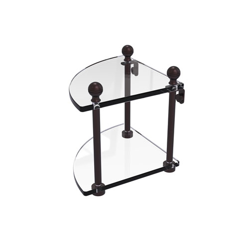 Mambo Antique Bronze Eight-Inch Two-Tier Corner Glass Shelf
