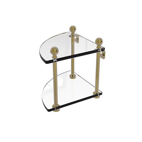 Mambo Unlacquered Brass Eight-Inch Two-Tier Corner Glass Shelf