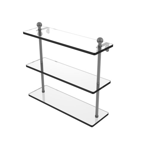 Mambo Matte Gray 16-Inch Triple Tiered Glass Shelf