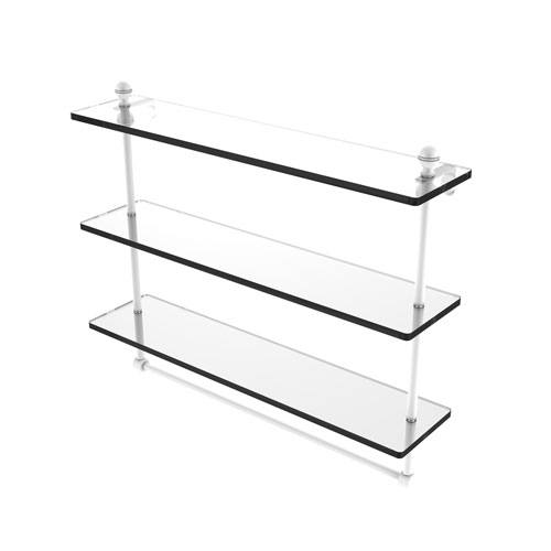 Mambo Matte White 22-Inch Triple Tiered Glass Shelf with Integrated Towel Bar