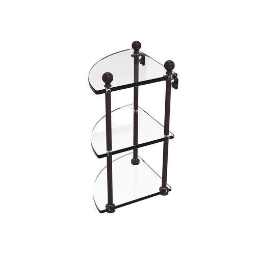 Mambo Antique Bronze Eight-Inch Three-Tier Corner Glass Shelf