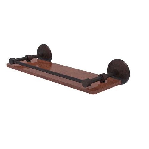 Monte Carlo Venetian Bronze 16-Inch Solid IPE Ironwood Shelf with Gallery Rail