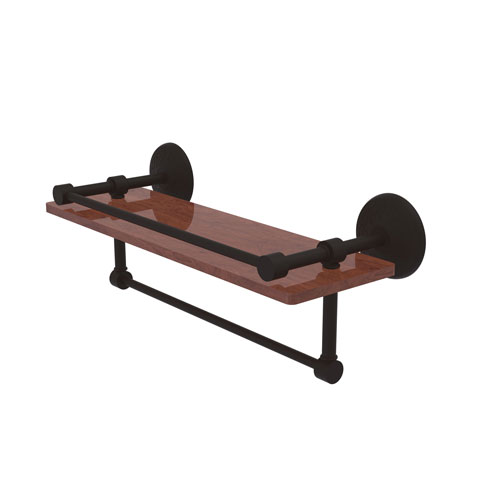 Monte Carlo Oil Rubbed Bronze 16-Inch IPE Ironwood Shelf with Gallery Rail and Towel Bar