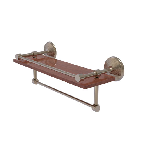 Monte Carlo Antique Pewter 16-Inch IPE Ironwood Shelf with Gallery Rail and Towel Bar