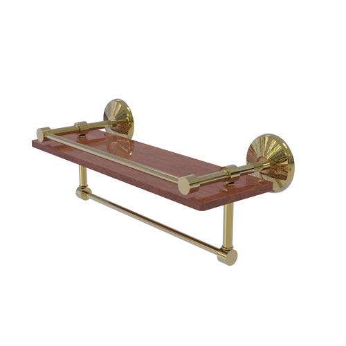 Monte Carlo Unlacquered Brass 16-Inch IPE Ironwood Shelf with Gallery Rail and Towel Bar
