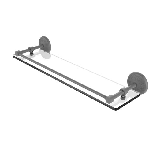 Monte Carlo Matte Gray 22-Inch Tempered Glass Shelf with Gallery Rail